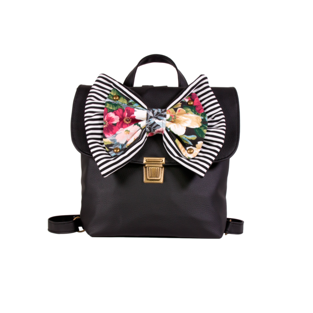 0069cd1246a Captain-Black-Backpack-with-Black-White-Striped-_-Black-Dahlia-Bow ...